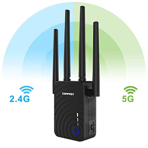 DRAGZJQ Repetidor de WiFI,amplificador de WLAN de banda dual de 2,4 GHz 5 GHz,amplificador de señal para el hogar y la oficina durable