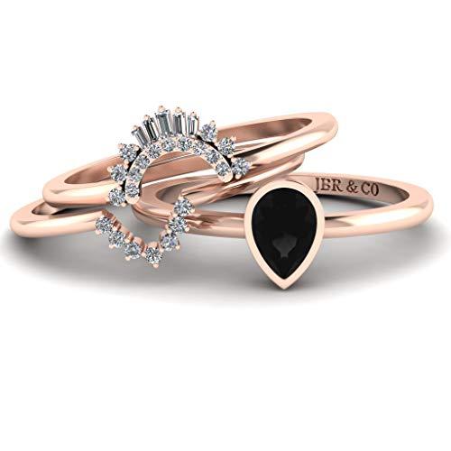 JBR - Anillo apilable de plata de ley con diamantes de imitación negros de corte pera, anillo de compromiso de boda para su aniversario, anillo de promesa de novia