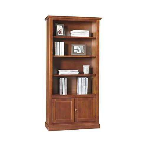 Bibliothèque, Style Classique, en Bois Massif et MDF avec Finition Noyer Brillant - Dim. 90 x 41 x 186