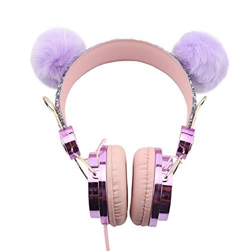 HANBING Auriculares para niños, lindos auriculares con cable y micrófono, música estéreo con límite de volumen seguro de 85 dB de 3,5 mm, apto para PC/laptop/tableta/smartphone