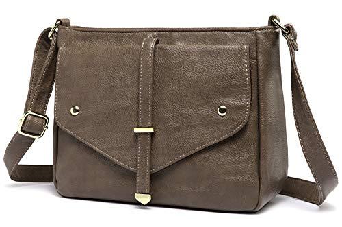 Cross Body Bag for Women, Vaschy Soft Vegan Leather Shoulder Bag Fashion Ladies Handbag Multi-Pockets Purse (Camel)