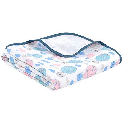 La manta para bebés de emma & noah con OEKO-TEX, extra suave y acolchada, 100% algodón, tamaño 120x120 cm, 4 capas, perfecta como dou dou, arrullo, manta para el cochecito (Globo)