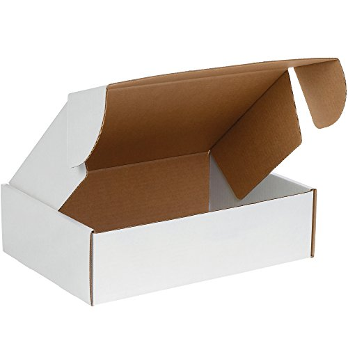 Boxes Fast BFMFL14144 Deluxe Literature Cardboard Mailers, 14 x 14 x 4 Inches, Corrugated Die-Cut Shipping Boxes, Large White Mailing Boxes (Pack of 50)