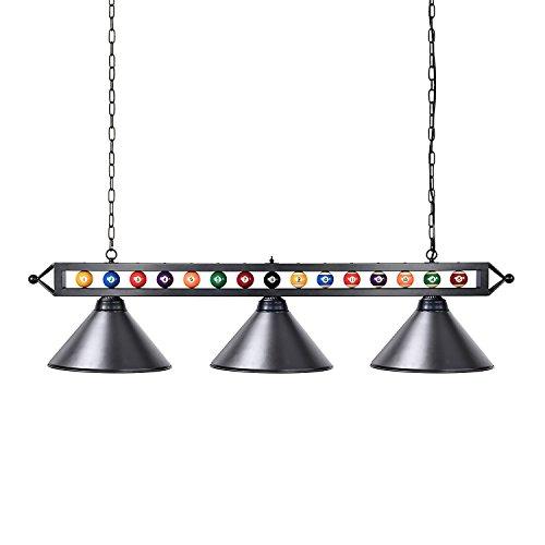Wellmet Billardlampe, 3-Licht Kücheninsel Pendelleuchte, 150cm Billardtischlampe geeignet für 213-274cm Billardtisch, mit Mattem Metallschirm, Schwarz