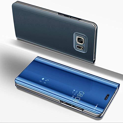 Miagon Spiegel Standing Schutzhülle für Galaxy S6 Edge, Transluzent Aussicht PC-Vorderseite Metall-Galvanotechnik Blau Stilvolle Brieftasche Schale Etui für Samsung Galaxy S6 Edge