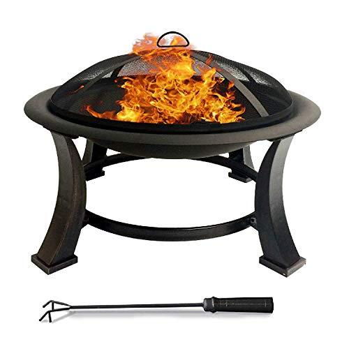Home&Decorations Feuerschale mit Grillrost, Funkenschutz und Schürhaken inklusive – Feuerkorb und Feuerstelle mit Ø76cm Durchmesser für Garten, Draußen, Terrasse, Grillparty und Gartengrill