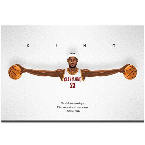 Lanruru Lebron James Wings Basketball Player MVP Wall Art Poster Canvas Painting Home Wall Decor -60X80Cm No Frame 1 Pcs