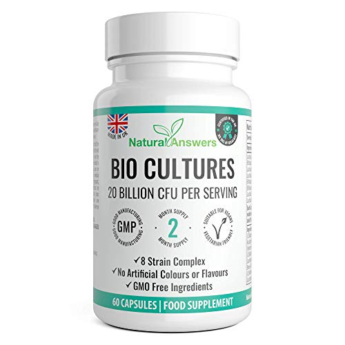 Vegan Bio Complex Cultures - 20 Billion CFU with 8 Bacteria Strains - Max Strength & Potency Capsules - Made in The UK by