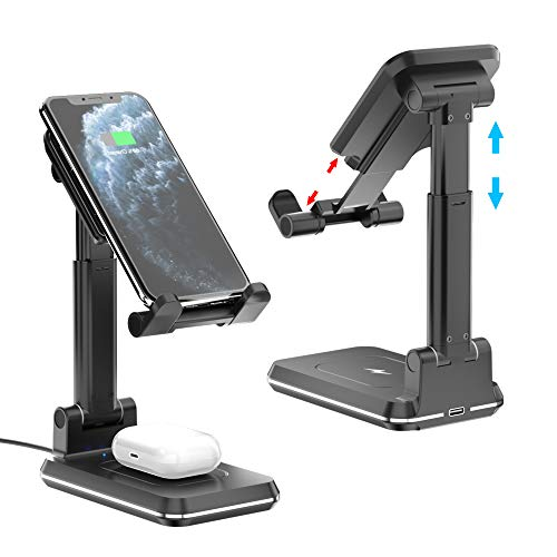 Dual Wireless Charger Phone Holder, COSOOS Foldable Wireless Charging Stand Pad for iPhone 12 Pro/12/SE 2020/11 Pro...