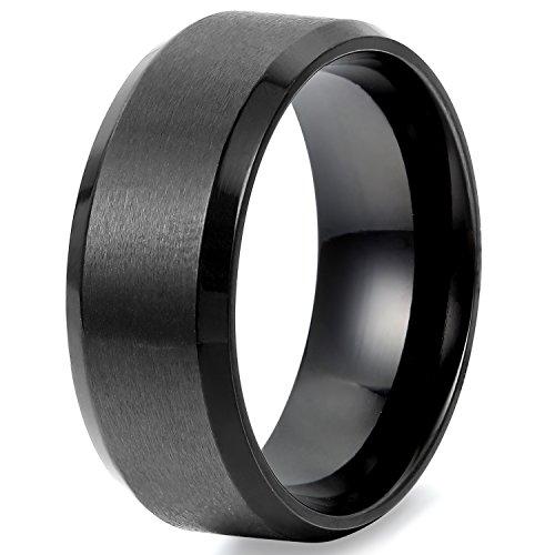 Flongo メンズ指輪 結婚リング ステンレス指輪 シンプル ファション 8MM 愛の証 幸せの鍵 軽量 男の子 プレゼント バレンタインデー クリスマス 記念日 誕生日 ブラック 「日本サイズ23号」