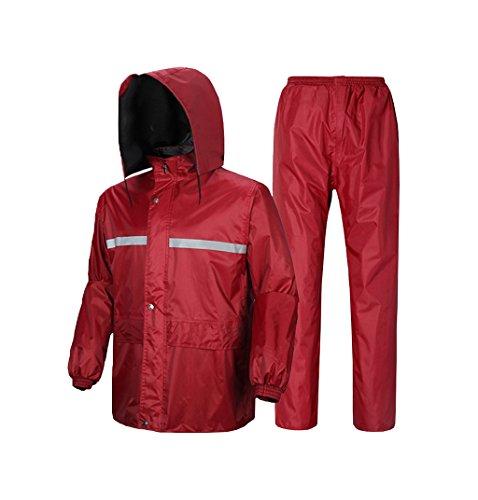 MXueei Unisex Adult Waterdichte Split Regenjas Suit, Dikke Dubbelzijdige Regenjas Broek Set,Luminous Plus Fertilizer Plus Size Regenkleding Set,Jujube Rood