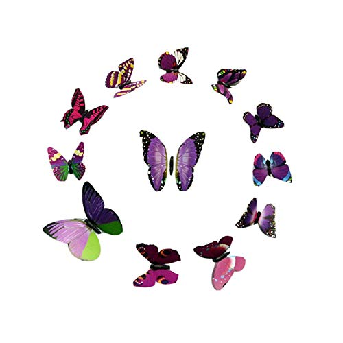 iHENGH Hot Seller 3D Butterfly Removable Wall Sticker Adornment Wall Glass Window Decoration(Purple)