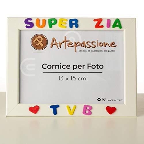 Cornici per foto in legno con la scritta Super Zia TVB e decorata con cuoricini, da appoggiare o...