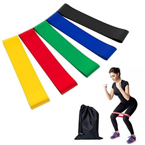 KAIHONG Fitness Fasce Elastiche, Set di 5 Fitness Resistenza Loop Bands in Forza per Resistance Training, Yoga, Pilates, Fisioterapia, Cinghie per Allenamento Crossfit - Le Tendenze della Moda