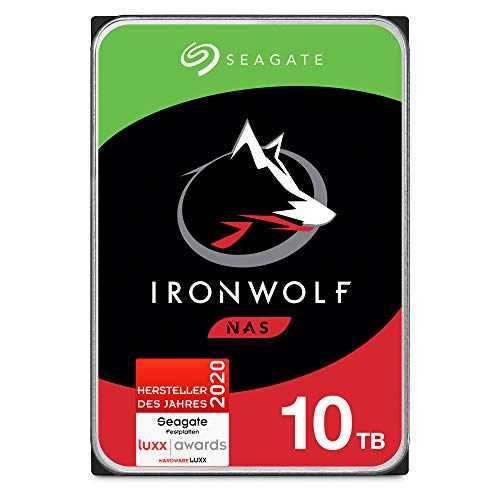 Seagate IronWolf, NAS interne Festplatte 10 TB HDD, 3.5 Zoll, 7200 U/Min, CMR, 256 MB Cache, SATA 6 GB/s, silber, FFP, inkl. 3 Jahre Rescue Service, Modellnr.: ST10000VNZ008