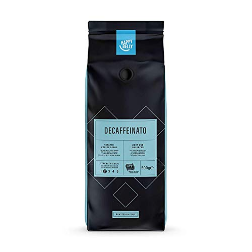 "Marca Amazon - Happy Belly Café descafeinado de tueste natural en grano ""Decaffeinato"" (2 x 500g)"