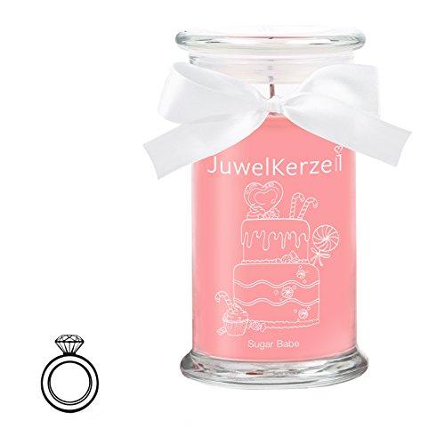 JuwelKerze Sugar Babe - Kerze im Glas mit Schmuck - Große Pinke Duftkerze mit Überraschung als Geschenk für Sie (Silber Ring, Brenndauer : 90-125 Stunden)