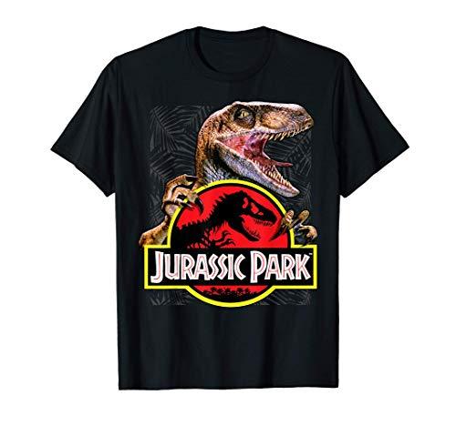 Jurassic Park Raptor Holding Colored Logo Camiseta