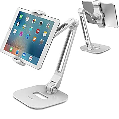 "AboveTEK Long Arm Aluminum Tablet Stand, Folding iPad Stand with 360° Swivel iPhone Clamp Mount Holder, Fits 4-11"" Display Tablet/Phones for Kitchen Table Bedside Office Desk POS Kiosk Reception from AboveTEK"