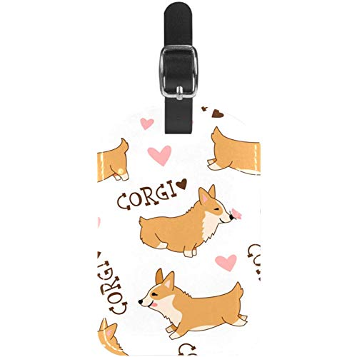 Luggage Tags Cute Cartoon Welsh Corgi Leather Travel Suitcase Labels 1 Packs