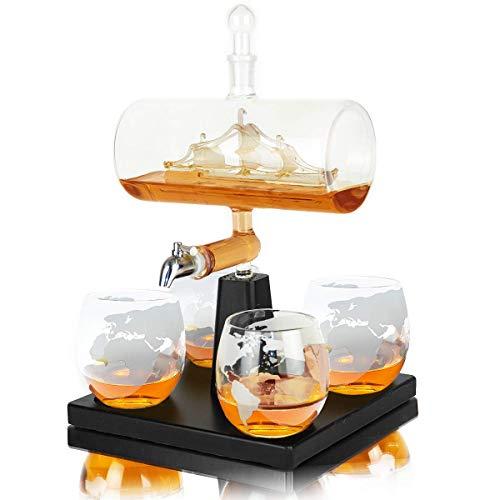 Whisiskey - Juego de jarra de whisky (1 L, incluye 8 piedras de whisky, vertedor de regalo, grifo y 4 vasos)