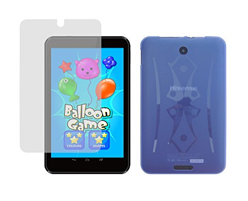iShoppingdeals - Light Blue TPU Rubber Skin Cover Case + Clear Screen Protector for Hisense Sero 8 Tablet (Model E2281 Only)