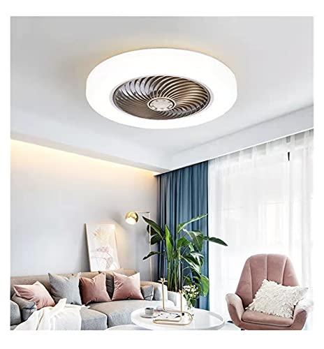 Ventilador eléctrico de ventilador de techo inteligente con lámpara Control remoto Dormitorio Decoración Ventilación Ventilación Fan Lámpara de ventilador 45 cm AIR Blade invisible Telescópico silenci