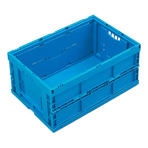 WALTHER Faltbox aus Polypropylen - Inhalt 49 l - ohne Deckel, blau - Behälter aus Kunststoff Faltbox Faltboxen Klappbehälter Klappbox Klappboxen Kunststoff-Behälter Lagerkasten Lagerkästen Stapelbehälters Kunststoff Stapelkasten aus Kunststoff