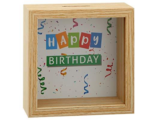 MC Trend Spardose Happy Birthday Sparbüchse zum Geburtstag Geldgeschenk Verpackung Geld Geschenk-Idee Sparschwein (Happy Birthday Braun)
