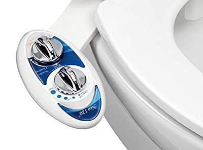 Luxe Bidet Neo 120 (Elite Series) - Self Cleaning Nozzle - Fresh Water Non-Electric Mechanical Bidet Toilet Attachment w/Strong Faucet Valves and Metal Hoses