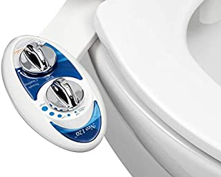 LUXE Bidet Neo 120 - Self Cleaning Nozzle - Fresh Water Non-Electric Mechanical Bidet Toilet Attachment (blue and white)