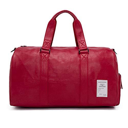 SKLLA Alta Capacidad Deportes Bolsa de Gimnasio, con Zapatos Compartimiento Impermeable Gimnasio Bolsa de Viaje PU Cuero Material Bolsa de Lona para Hombres y Mujeres,Red