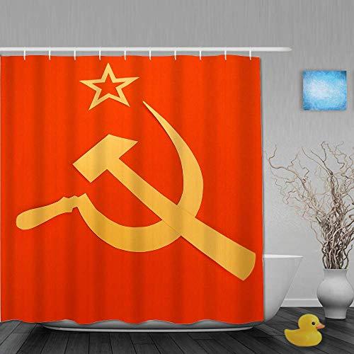 Duschvorhang, kommunistische CCCP-Flagge mit Hammer & Sichel, Symbole des Kommunismus, Badezimmerdekor aus Stoffgewebe mit Plastikhaken