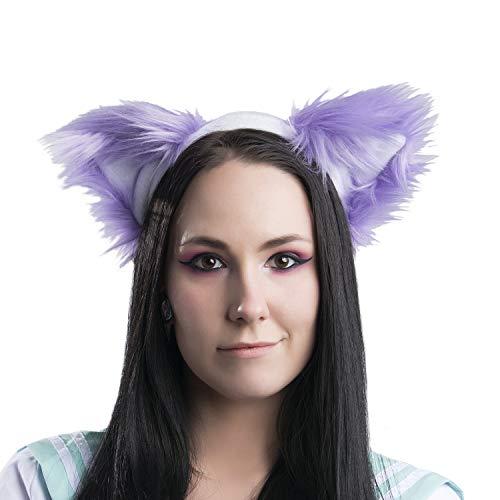 Pawstar Purple Furry Kitty Cat Ears Headband - Lavender