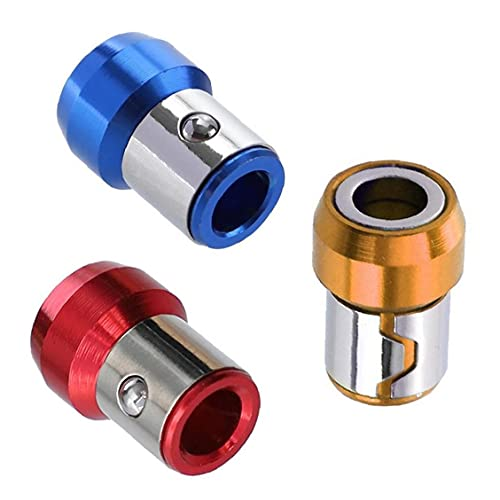Destornillador de punta magnética del anillo del metal rojo amarillo azul Tornillo soportes magnéticos 3PCS 6.35mm