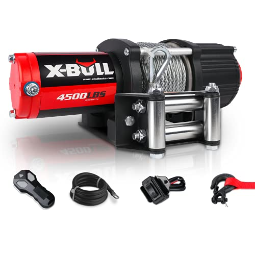 X-BULL 12V 4500LBS Steel Wire Electric Winch for Towing ATV/UTV Off Road with Mounting Bracket Wireless Remote
