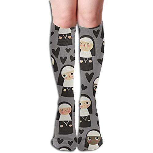 Ginger-Ale Monjas En Corazón Gris Imprimir Calcetines De Compresión De 19.7 Pulgadas Botas Altas Medias Manguera Larga Para Yoga Caminar Para Mujeres Hombre