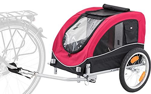 Trixie Remorque de Vélo pour Chien, Noir/Rouge, Taille M, 46 × 50 × 74 cm