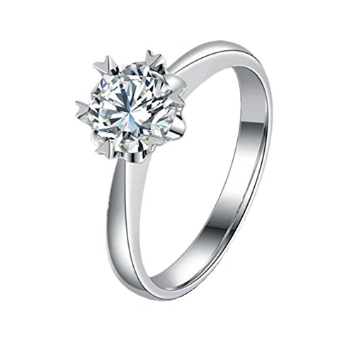 BIGBOBA Elegante anillo de plata con forma de copo de nieve ajustable para la apertura del compromiso, anillo de boda para parejas, accesorios de
