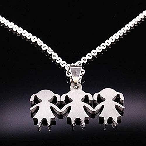 YOUZYHG co.,ltd Collar 3 Girl Love Family Collar de Acero Inoxidable para Padres, niños y niñas, Collares Pendientes, joyería, Accesorios para Mujeres, Regalo