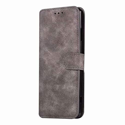 Sunrive Hülle Für BlackBerry Priv, Magnetisch Schaltfläche Ledertasche Schutzhülle Etui Leder Hülle Cover Handyhülle Tasche Schalen Lederhülle MEHRWEG(W8 Grau)