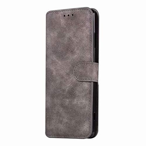 Sunrive Hülle Für Wiko Pulp Fab 4G, Magnetisch Schaltfläche Ledertasche Schutzhülle Etui Leder Case Cover Handyhülle Tasche Schalen Lederhülle MEHRWEG(W8 Grau)