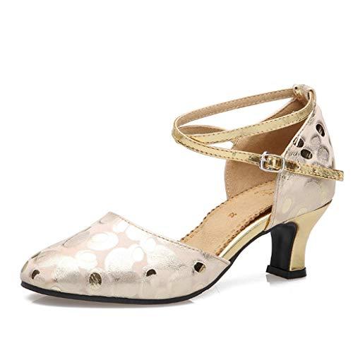 Latin Tanzschuhe, Tanzschuhe, Damen, Soft Bottom Tanzschuhe, Square Dance Schuhe, Tanzschuhe (Farbe : Gold, größe : 35)