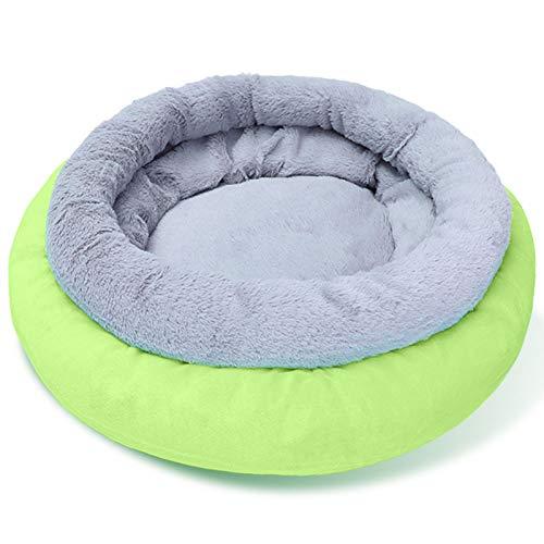 AchidistviQ Cama redonda para mascotas, sofá suave para cachorros, cama para perros y gatos, saco de dormir con base antideslizante, color verde
