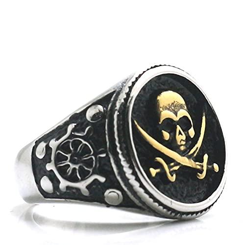 Anillo de calavera pirata gótico punk fresco de acero inoxidable 316l para hombres y niños 9