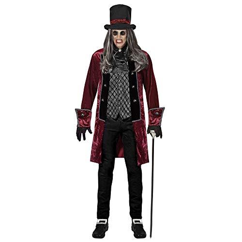 WIDMANN 07669-Disfraz de vampiro victoriano (chaqueta con chaleco, jabot, guantes y sombrero, para hombre, Halloween y carnaval), color rojo-plateado/negro, xx-large (07669)