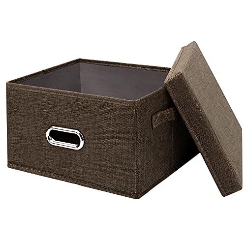 Caja de almacenamiento con tapa, Aibesser cajas de almacenamiento de tela lavable, caja plegable para armario, ropa, libros, cosméticos, juguetes (marrón, M, 37 x 27 x 26 cm)