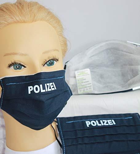 Fan-Omenal Textil Design-Maske waschbar aus Baumwolle - Blau mit Aufdruck POLIZEI