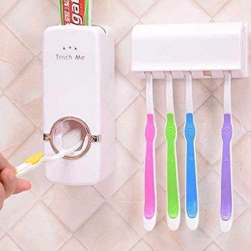 Bulling Hands Free Wall Mounted Plastic Dust Proof Automatic Toothpaste Dispenser and Detachable Hole 5 Toothbrush Holder