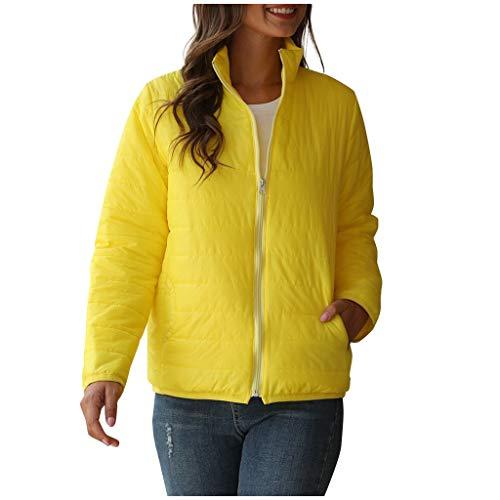 GOKOMO Damen Winter Warm Langarm Stehkragen Jacke Einfarbig Reißverschluss Mantel(Gelb-1,XXXX-Large)